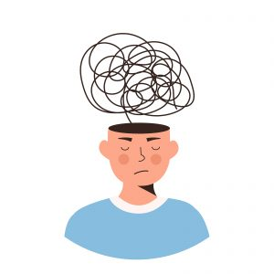 A digital image of an illustration of a person wearing a blue shirt with a squiggly line coming out of their head. This image illustrates what thinking may be like for someone with PTSD. Those struggling with PTSD and trauma symptoms can get help from trauma therapy in Baltimore, MD. 21209 | 21204